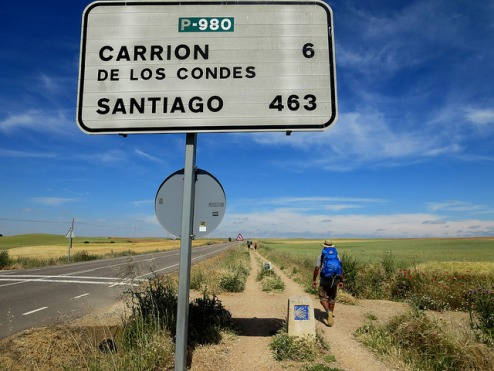 The Spanish senda: the designated pilgrim path along a semi-busy highway.