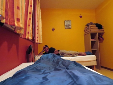 An awkward picture taken from my sleeping bag, but a normal night in a private French gite d'etape, with a cozy private room (and bathroom)