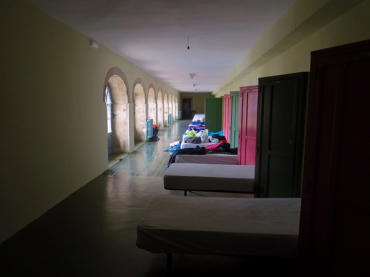 Dormitory beds along the cloister of a 17th century convent in Villafranca de Bierzo